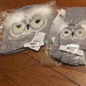 NWT Kate Spade owl hat and mittens